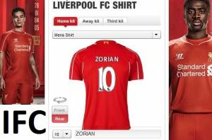 Liverpool's jersey to Zorian